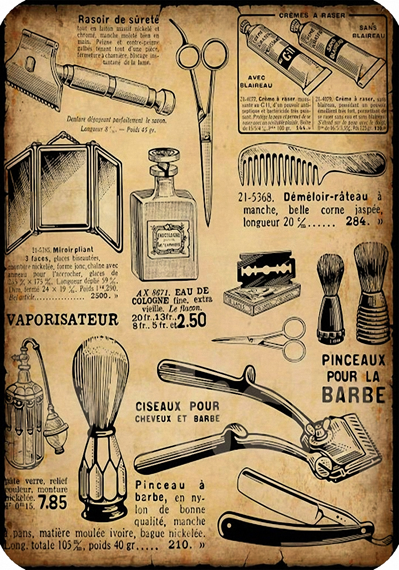 Well-liked Vintage Hairdresser Tattoos Patterned Posters Kraft paper Interior  YB42