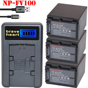 Battery-Batteries AX100E Camera 4600mah Sony FV100 NP for Np-fv30/Np-fv50/Np-fv70/..