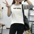 Письмо печати футболка с длинным рукавом НЕ СЕГОДНЯ смешно печатных тройник топы женская мода лоскутная футболка хлопок футболки tumblr CGF10347