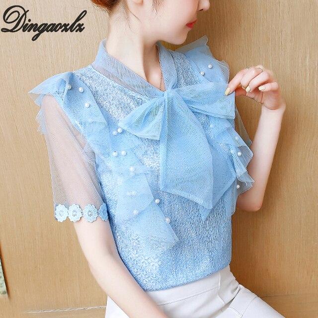 7bd30bfaba9d Dingaozlz Bow Tie Lace Blouse Summer Casual Beaded Women Clothing Short  Sleeve Ruffles Chiffon Shirt Tops
