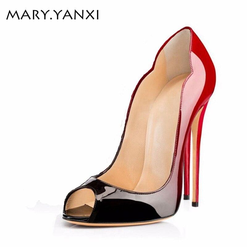 ファッション勾配色の靴尖ったつま先の女性パンプスパテントレザーのぞき見つま先ハイヒールサンダル結婚式のパーティーの靴