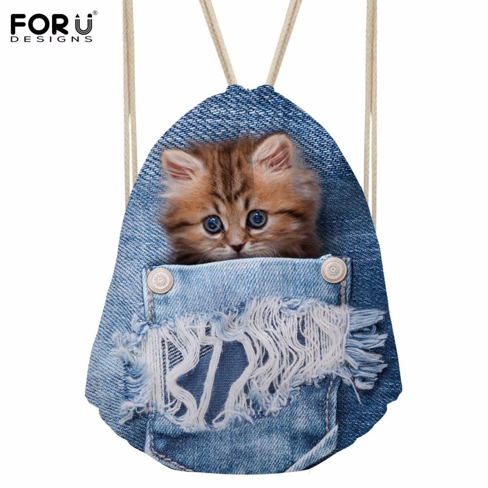 FORUDESIGNS Denim Pocket Cat Cute Women Travel Backpack Small Sport Beach Drawstring Bag Beach Storage Bags Kids Bookbag For Men