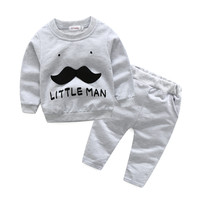 Xirubaby 2018 Baby Boy Clothes Cotton Baby Girl Clothing Set Long Sleeve Letter T Shirt Pant