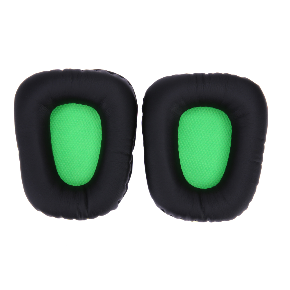 Replacement Ear Pads Cushion Black+Green Leather Earpad Music Headphones Accessories For Razer Electra Gaming PC Music Headphone