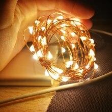 5 متر 10 متر USB بالطاقة النجوم مصباح ليد أسلاك النحاس الفضة الجنية سلسلة للخارجية شجرة عيد الميلاد جارلاند ديكور حفلات الزواج