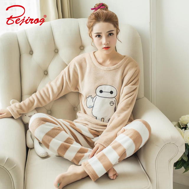 Bejirog women pajamas sets plus size cartoon pyjamas thicker Flannel animal  sleepwear in winter for girl female baymax nightwear c1b055296