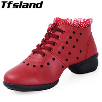 Tfsland ניו רכות Outsole לנשימה ספורט סלסה נשים נעלי ריקוד ג 'אז היפ הופ סניקרס נעלי ריקוד ריקוד חלולות החוצה Zapatos
