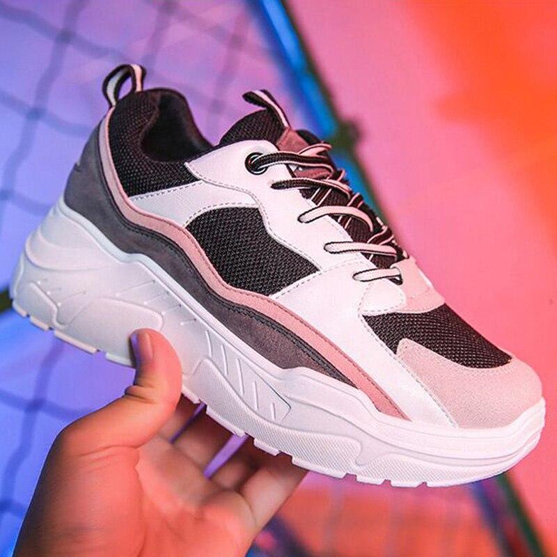 Women Shoes 2019 Fashion Tenis Feminino Dad Platform Chunky Sneakers Breathable Mesh Shoes Woman Casual Shoes Women Sneaker