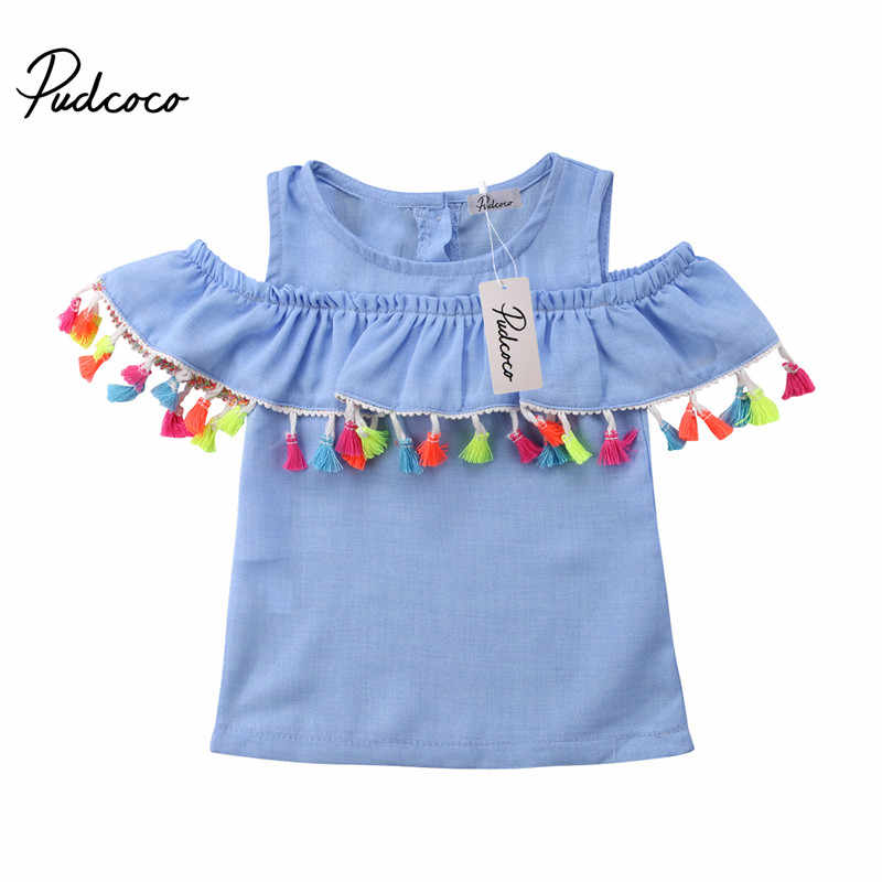 d41dcd5b5 Tassels Girls Blouse Shirts 2018 New Summer Fashion Cotton Off Shoulder  Ruffles Children Tops Infants Casual