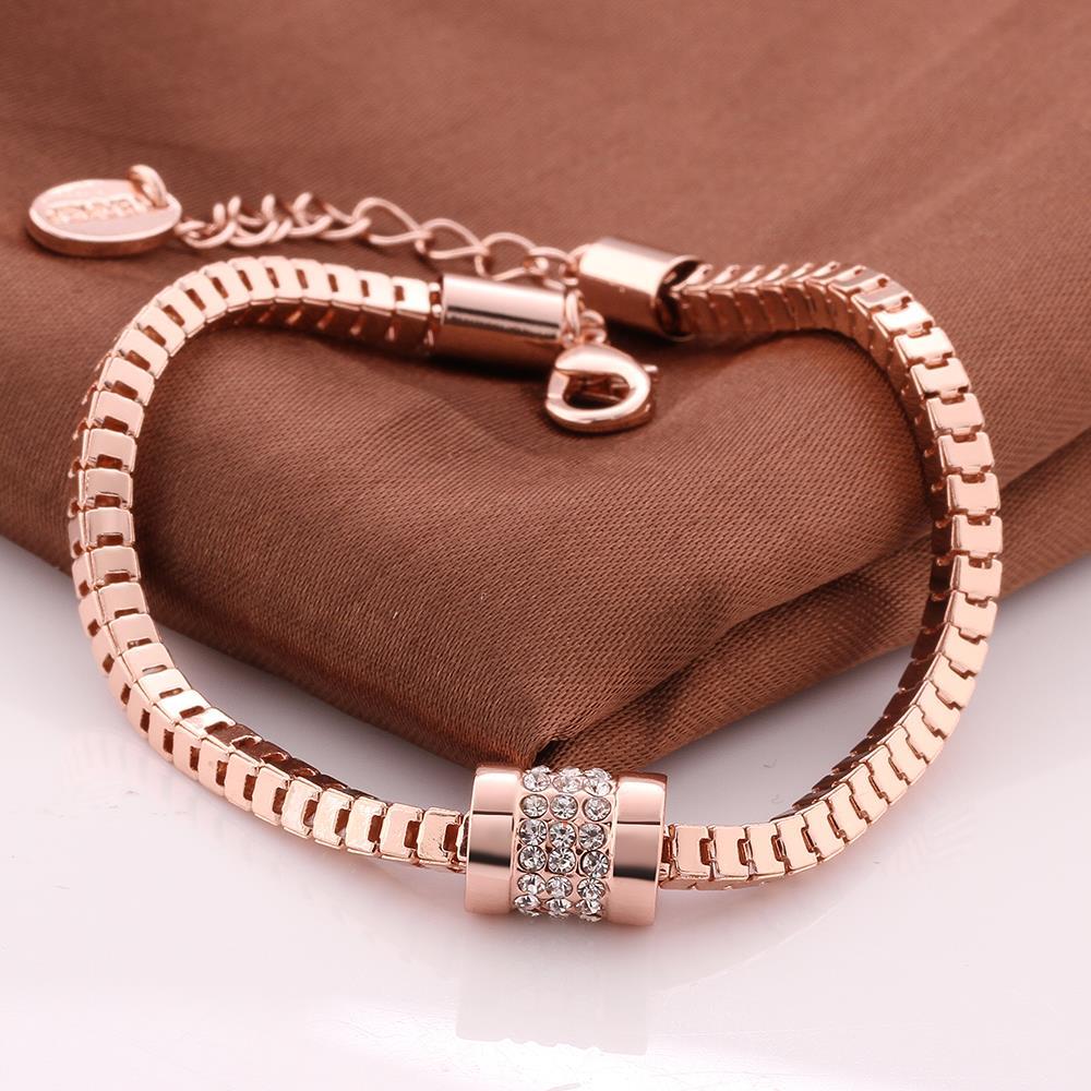 Gold Charms Bracelet: Czech Zircon Rose Gold Chain Link Bracelet Women