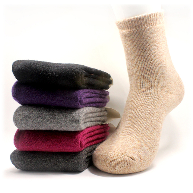b98a67edf Winter Women s Super thick cashmere wool socks high quality classic  business brand Woman socks winter4pairs
