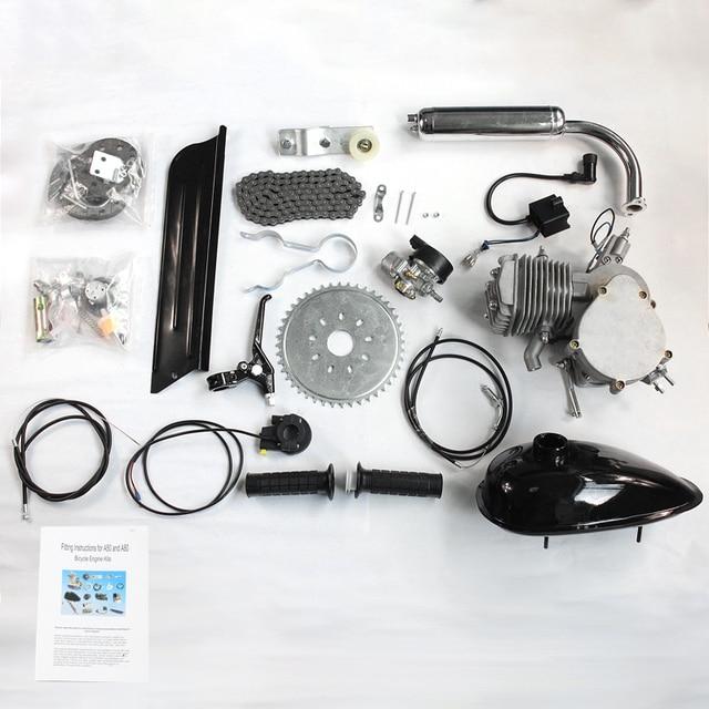 50cc de $ Number Tiempos Conjunto Montaje de La Bicicleta de Motor Kit de Motor para Bicicleta Motorizada Con Motor De Gasolina Ciclo Bicicleta Conjuntos de Plata/Negro