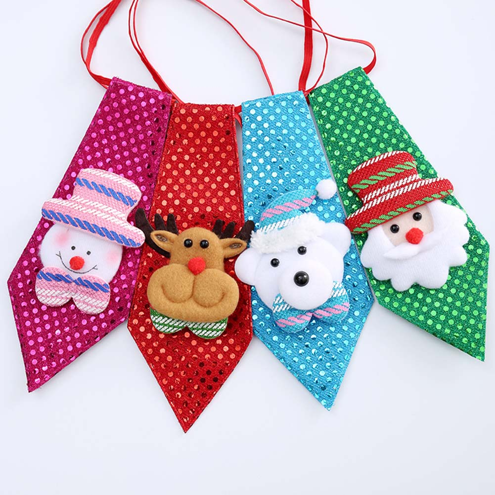 1PC Christmas Children Tie Santa Claus Snowman Reindeer Bear Tie Christmas Decoration For Home Xmas Decoration Ornaments 4colors