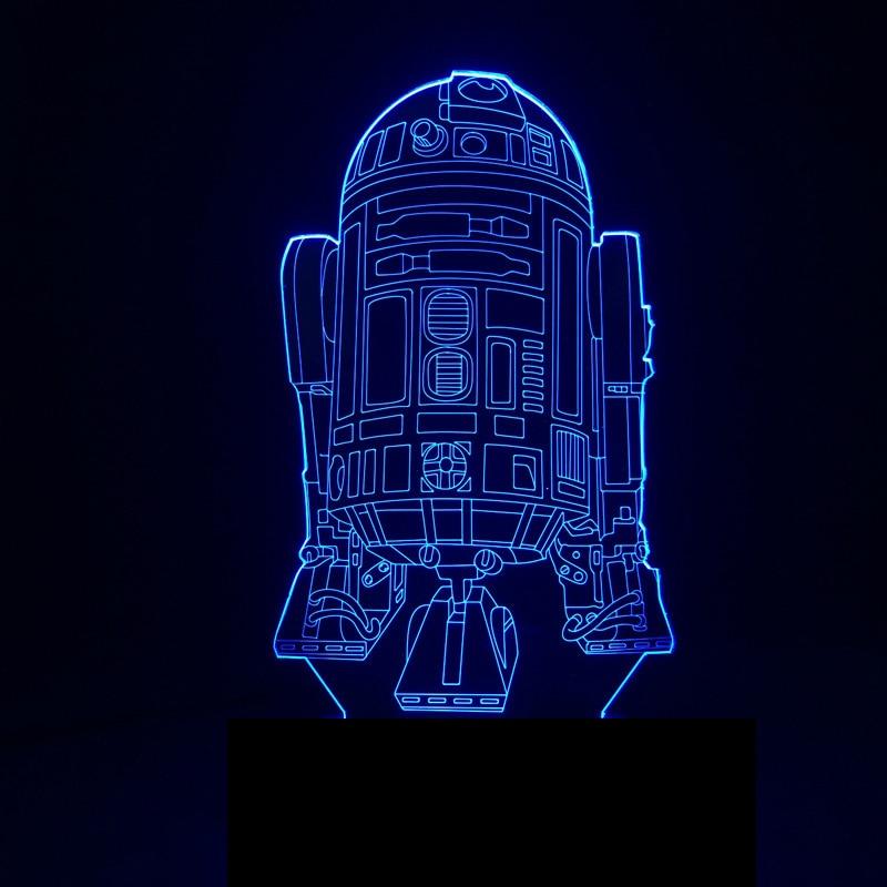 3D USB 7 Colors LED Night Light Star Wars R2-D2 Robot Table Lamp Rocket Model Bedroom Sleep Lighting Decor Light Fixture Gifts