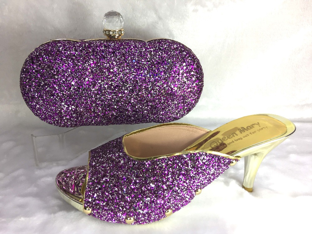 purple Ladies Style Italian Shoes with Matching bags For party good selling african Shoes And Bags