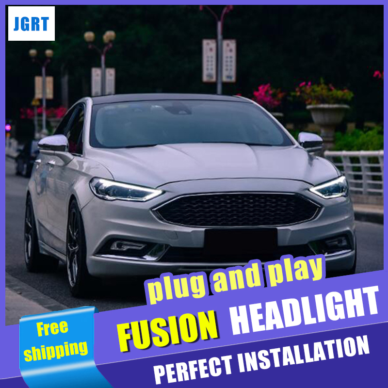 Head Lamps Car Styling For Ford Fusion Headlights 2017 2018 Mondeo H7 Bi Xenon Beam Lens Flash Straight Yellow Turning
