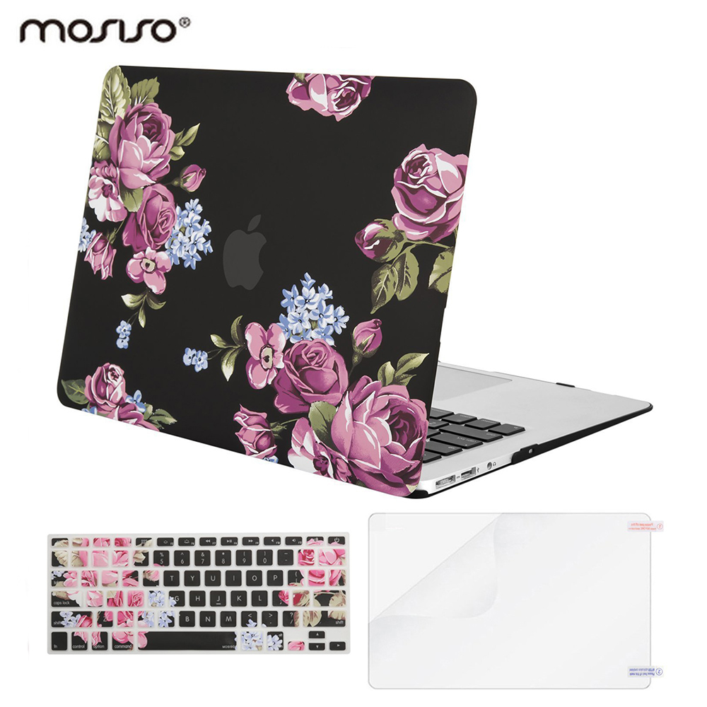 Mosiso Floral Laptop Shell Cover Case for Macbook Air 13 2017 2016 2018 Mac Case + Silicone Keyboard Cover + Screen Protector