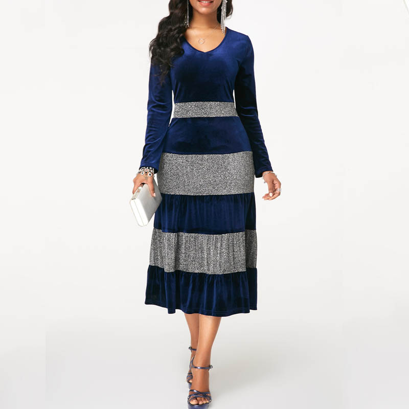Fashion Women Autumn Winter Plus Size Velvet Dress Elegant Party  3 Color Midi Dresses