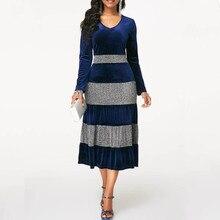 NORMOV 2019 موضة النساء الخريف الشتاء حجم كبير فستان مخملي أنيق حفلة الترتر فستان باتشور كشكش 3 اللون فساتين متوسطة الطول