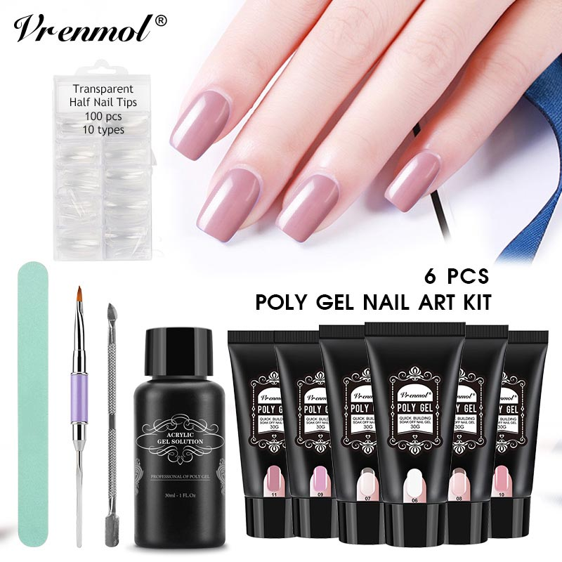 Vrenmol Poly Gel Set UV Builder Gel Fast Extention Hard Gel Jelly Acrylic Crystal PolyGel Liquid Slip Solution Nail Brush