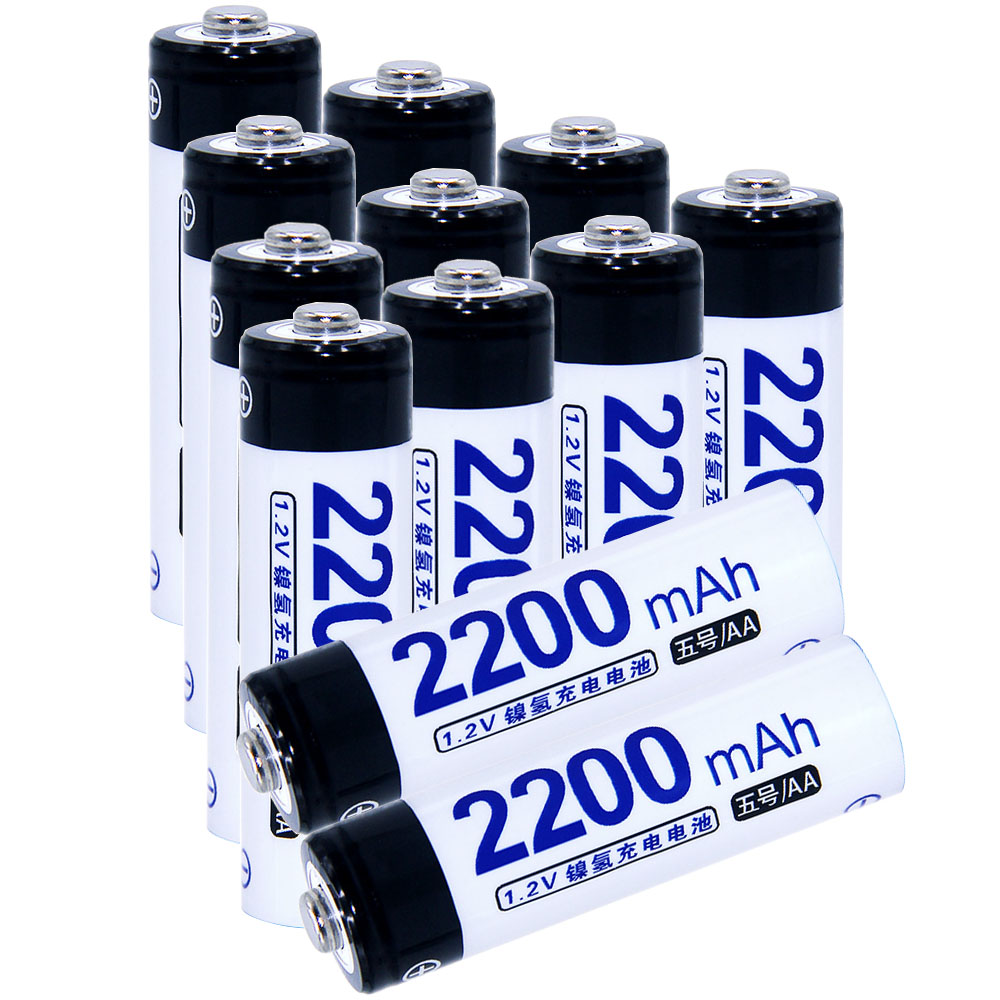 Real capacity! 12 pcs AA 2200mah 1.2V NIMH AA rechargeable batteries for camera razor toy remote control flashlight 2A