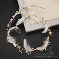 Gorgeous feather headband women crystal pearl jewelry forehead hair ornaments crown Gold plated wedding accessories tianlai