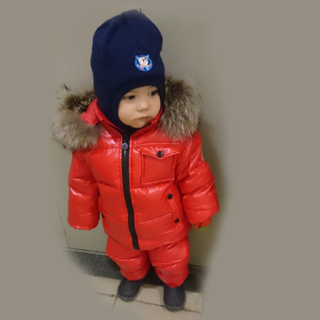 be98b0a2a238 Russian winter snowsuit girls jacket duck feather down clothes kids ...