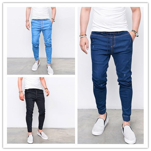 Men's Jeans Europe and America with elastic pants elastic tight denim pants fashion trend pants jeans