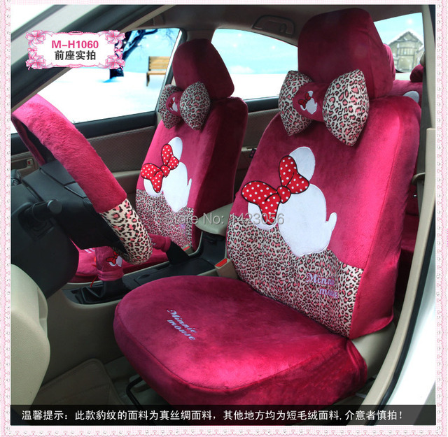 Us 186 0 Pink Cotton Mickey Minnie Mouse Car Seat Covers Accessories For Most 5 Seat Car Interior Shoulder Pad Steering Wheel Cover Di Kursi