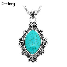 Fashion Jewelry Tibetan Alloy Antique Silver Plated Exotic Pendant Flower Stone Necklace TN277
