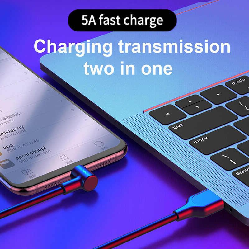 Cabo usb tipo c 90 graus 5a, fio de dados usb tipo c de carregamento rápido cabo de fio para samsung xiaomi huawei