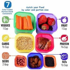Image 3 - Boîtes de rangement en plastique, 7 pièces/ensemble boîte à déjeuner, boîte de contrôle de la Portion multicolore, Kit de couvercles sans BPA, boîte de stockage des aliments en Bento