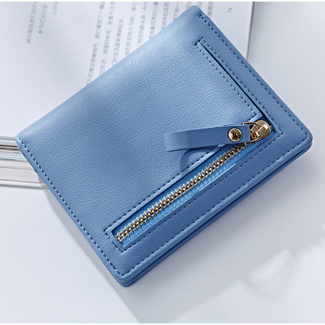 WEICHEN Thin Style Women Wallets Zipper Coin Bag in Back Blue Soft Leather Ladies Card Holder Slim Purse Female Wallet Small HOT 4