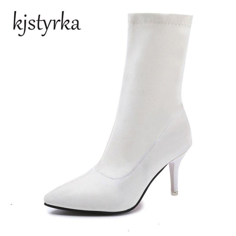 Autumn Solid Pointed toe font b women b font white boots font b women b font