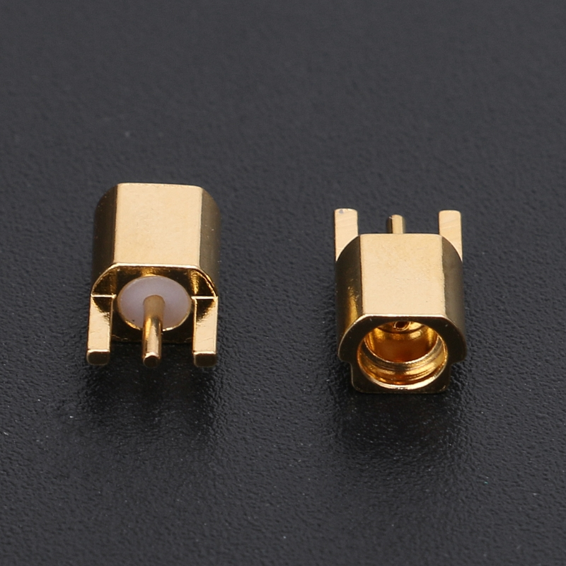 MMCX Female Jack Connector PCB Mount With Solder Straight Goldplated 3 Pins