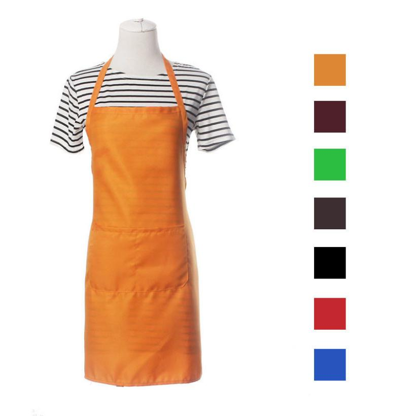 Kitchen Aprons Polyester Unisex New Cooking Catering Work Apron with Pocket 2O0201