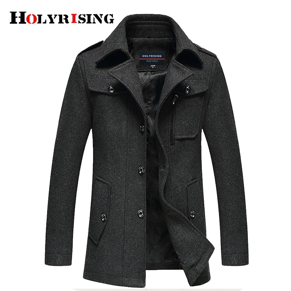18259 Coat Holyrising Clásico Casaca gray Lana Casual Gruesas Hombres Abrigos Abrigo 5 Paño Caliente Blend Chaquetas Hombre Black Equipada xZfqqwp