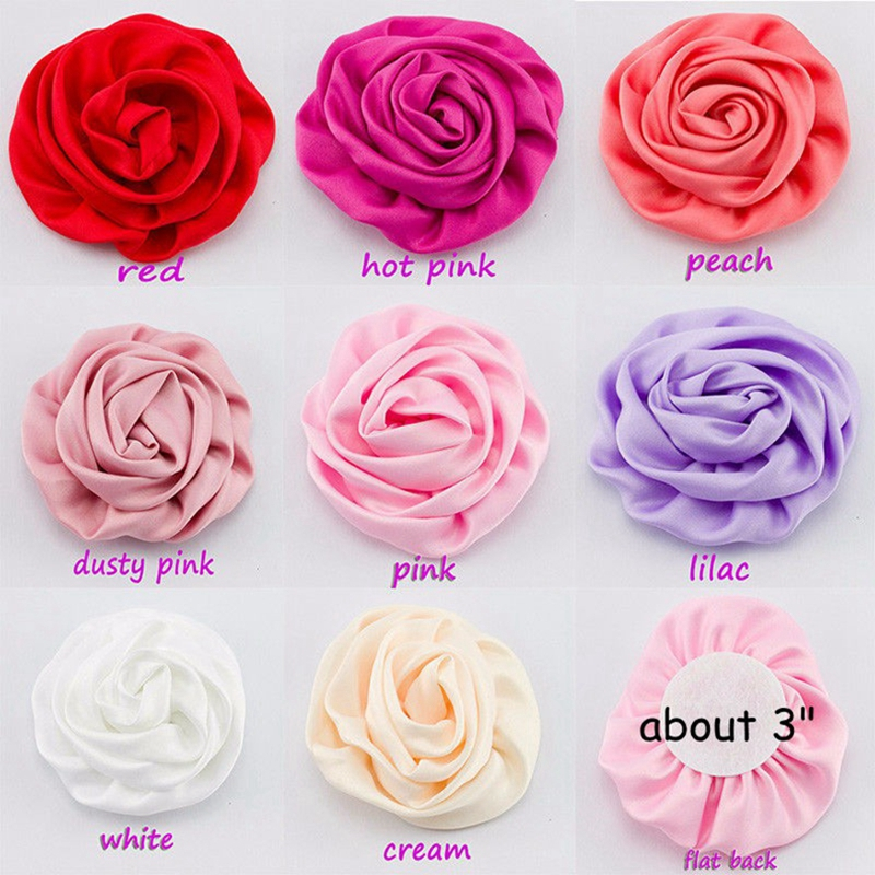 50pcs/lot 3 Matte Satin Silk Flowers Hair Clip For Kids Hair Accessories Artificial Rolled Rosette Fabric Flowers For Headband
