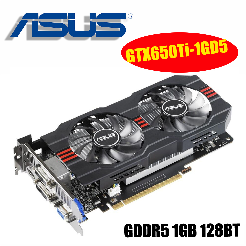 ASUS Графика карты используется оригинальный GTX650Ti-1GD5 GTX 650 Ti 1 ГБ 128Bit GDDR5 видео карты для nVIDIA Geforce GTX 650Ti VGA карты