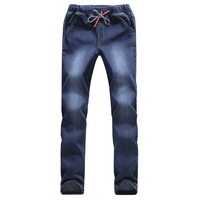 Fashion High Quanlity Men Elastic Loose Waist Denim Jeans Ankle Banded Pants Mens Drawstring Stretch Leg