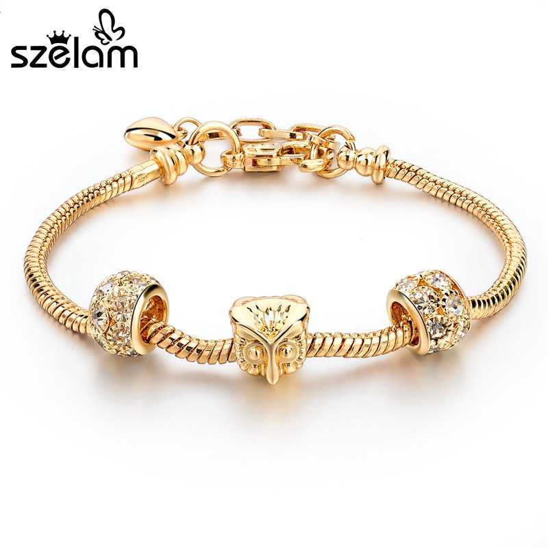 Szelam 2019 Fashion Owl Charm Bracelets For Women Luxury Gold Bracelets & Bangles DIY Jewelry Pulseras Bracelet Women SBR160013
