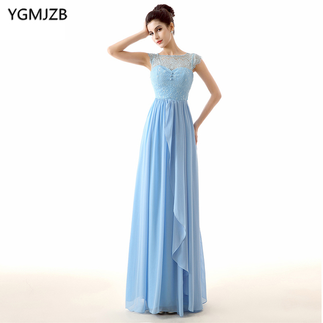 Blue Bridesmaid Dresses Long 2018 A Line Sheer Scoop Neck Cap Sleeve ...