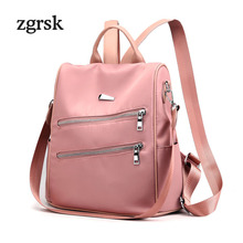 Ladies Student Backpack Korean Style None Solid Zipper Nylon Black Casual School Backpacks For Teenagers Mochila Notebook Plecak
