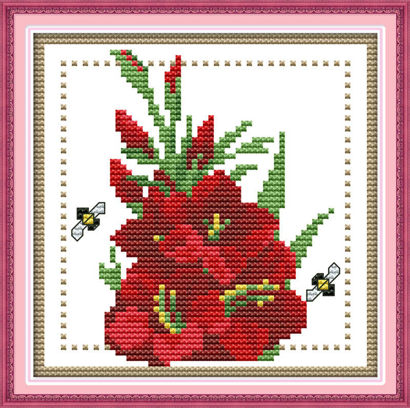 Twelve months flower cross stitch kit 14ct 11ct count print canvas mini picture stitches embroidery DIY handmade needlework plus