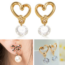 Bluelans wanita Alergi Gratis Jantung Zirkon Telinga Pins Ikatan Simpul Faux Pearl Subang Earrings(China)