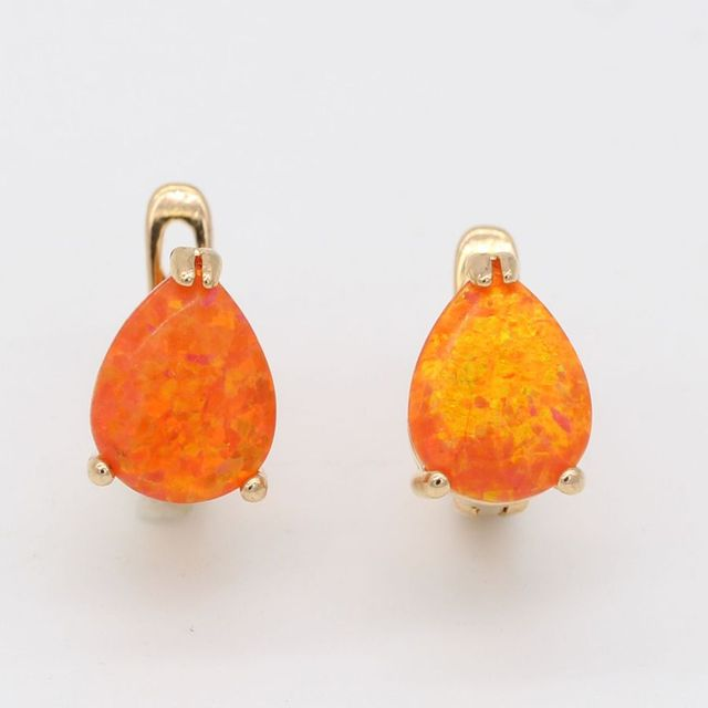 Fashion Wedding Accessories Jewelry Orange Teardrop Fire Opal Brincos Luxury Gold Plated Earrings For Women