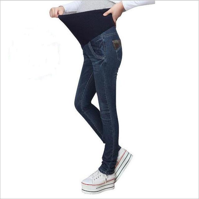 Mulheres Grávidas Coreano Jeans Skinny Maternidade Denim Jean Femme Enceinte Barriga Prop Maternidade Magro Jeans com Bolsos
