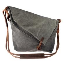Women's Retro Casual Crazy Horse Leather Canvas Crossbody Bag Messenger Shouder Bag
