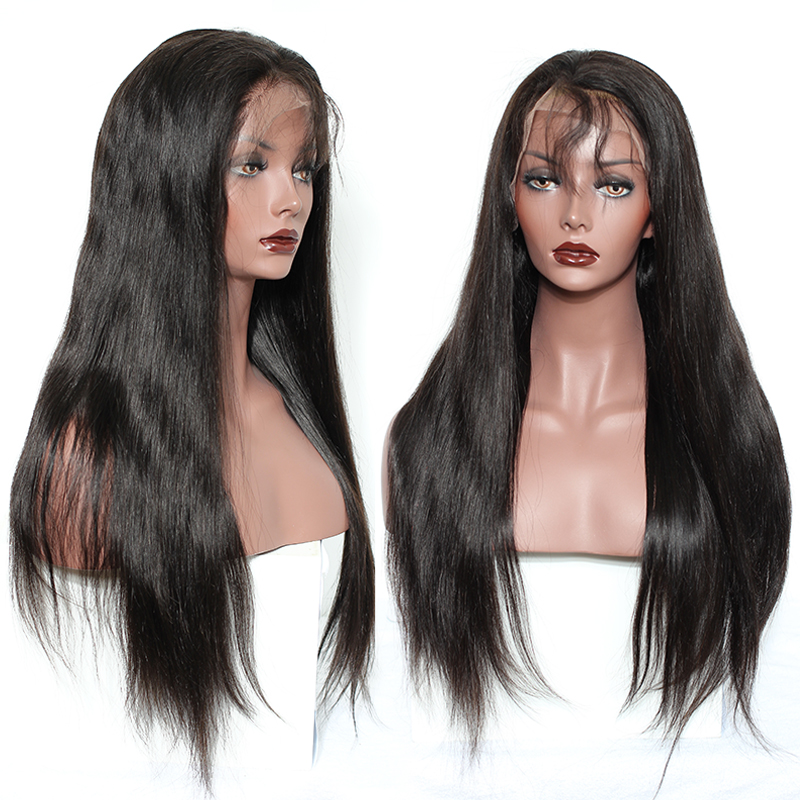 Pelucas del pelo humano del cordón lleno de Glueless recto para las - Cabello humano (negro) - foto 2