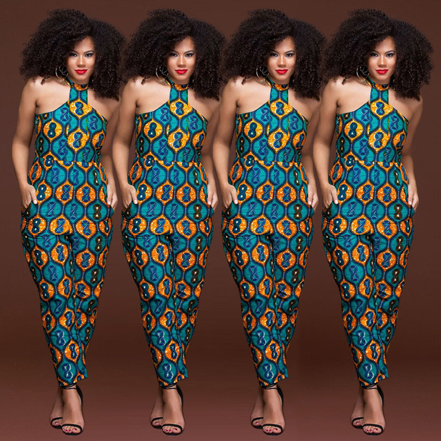 3a910c00aa72 Plus size sleeveless strappy Dashiki African Print jumpsuit women romper  2018 summer halter sexy off shoulder